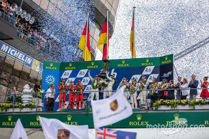 LMP1 podium: class and overall winners Porsche Team: Nico Hulkenberg, Nick Tandy, Earl Bamber, second place Porsche Team: Timo Bernhard, Mark Webber, Brendon Hartley, third place Audi Sport Team Joest Audi R18 e-tron quattro: Marcel Fässler, Andre Lotterer, Benoit Tréluyer
