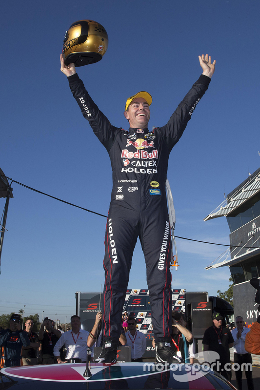 Race winner Craig Lowndes, Triple Eight Race Engineering Holden celebrates his 100th win