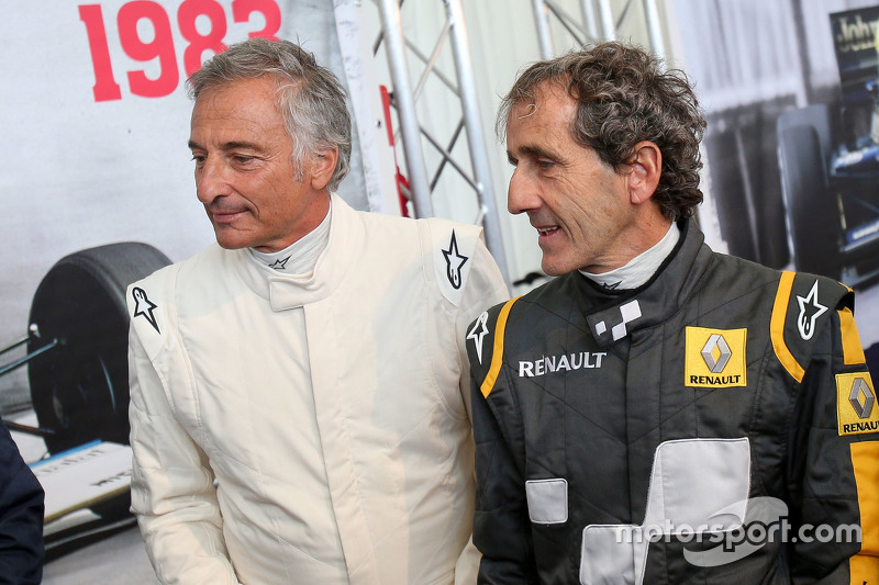 Riccardo Patrese, and Alain Prost, at the Legends Parade