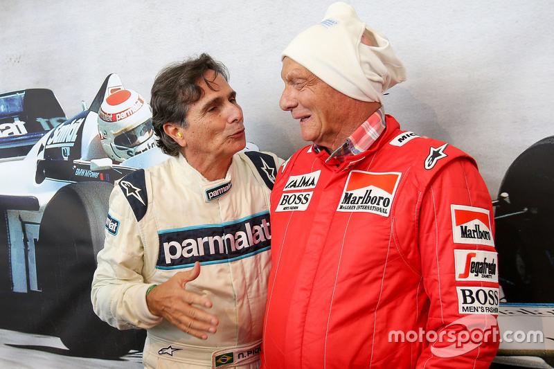 Nelson Piquet, and Niki Lauda, Mercedes Non-Executive Chairman at the Legends Parade