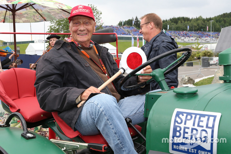 Niki Lauda, Mercedes Non-Executive Chairman on a tractor