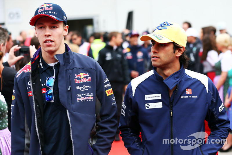 Daniil Kvyat, Red Bull Racing with Felipe Nasr, Sauber F1 Team on the drivers parade