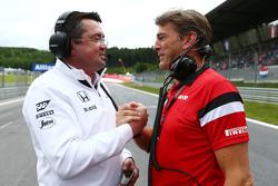 Eric Boullier, Rennleiter McLaren, mit Graeme Lowdon, Geschäftsführer Manor F1 Team