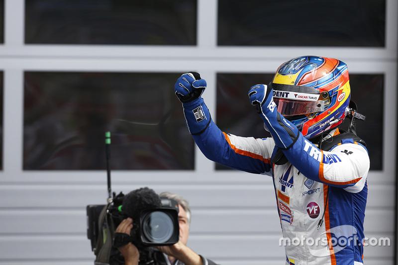 Race winner Oscar Tunjo, Trident celebrates his win in Parc Ferme