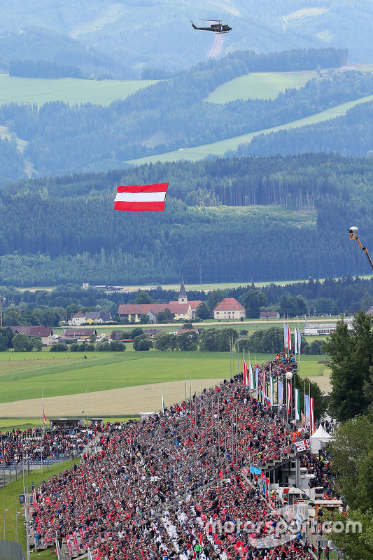 A helicopter with the Austrian flag
