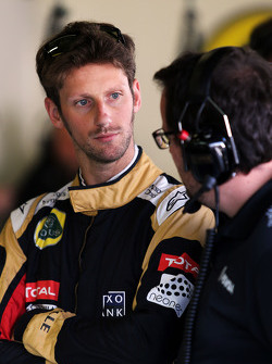 Romain Grosjean, Lotus F1 Team com Julien Simon-Chautemps, engenheiro de corrida da Lotus F1 Team