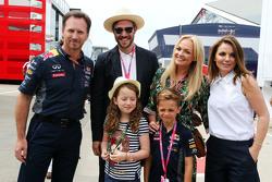 Christian Horner, jefe de Red Bull Racing con Will Young, Emma Bunton y Geri Halliwell
