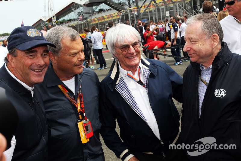 Nigel Mansell mit Sir Martin Sorrell, WPP-Geschäftsführer; Bernie Ecclestone, und Jean Todt, FIA-Prä