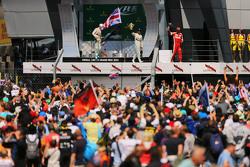 The podium,: Nico Rosberg, Mercedes AMG F1, second; Lewis Hamilton, Mercedes AMG F1, race winner; Sebastian Vettel, Ferrari, third.