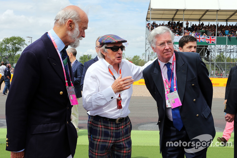 HRH Prince Michael of Kent, with Jackie Stewart, and Michael Fallon MP, Defence Secretary   on the grid