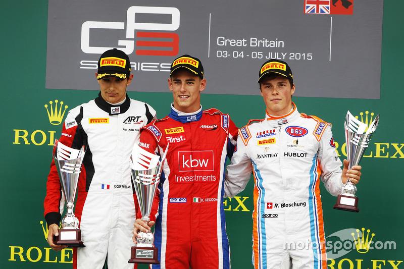 Podium: 2. Esteban Ocon, ART Grand Prix; 1. Kevin Ceccon, Arden International, und 3. Ralph Boschung