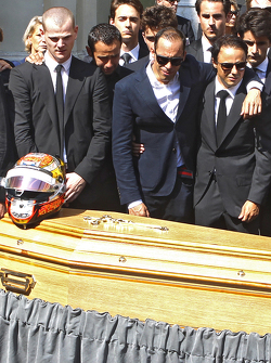 Pastor Maldonado and Felipe Massa attend the funeral of Jules Bianchi in Nice, France