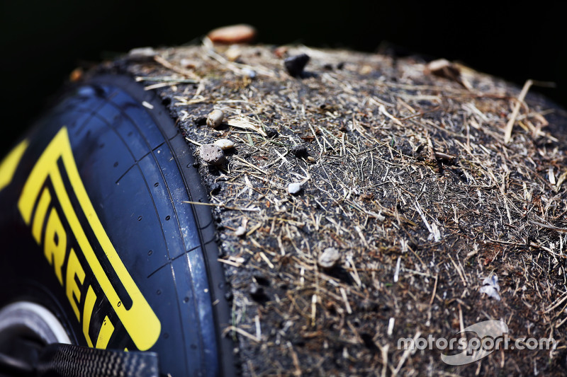 Pirelli tyre of Daniel Ricciardo, Red Bull Racing coverd in grass and gravel
