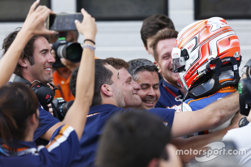 Race winner Luca Ghiotto, Trident celebrates his win in parc ferme with his team