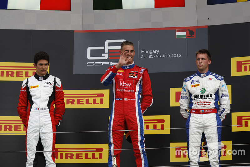 Race winner Kevin Ceccon, Arden International, second place Esteban Ocon, ART Grand Prix & third pla