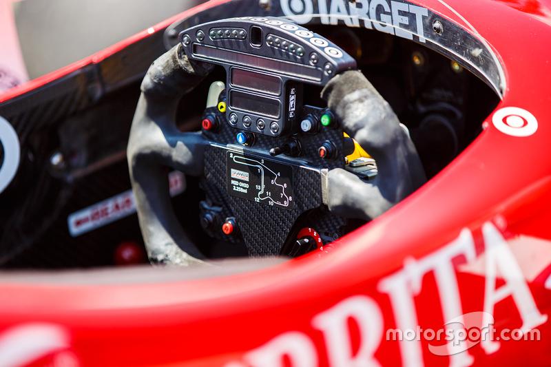 Pemandangan Detail kokpit dari mobil Scott Dixon, Chip Ganassi Racing Chevrolet