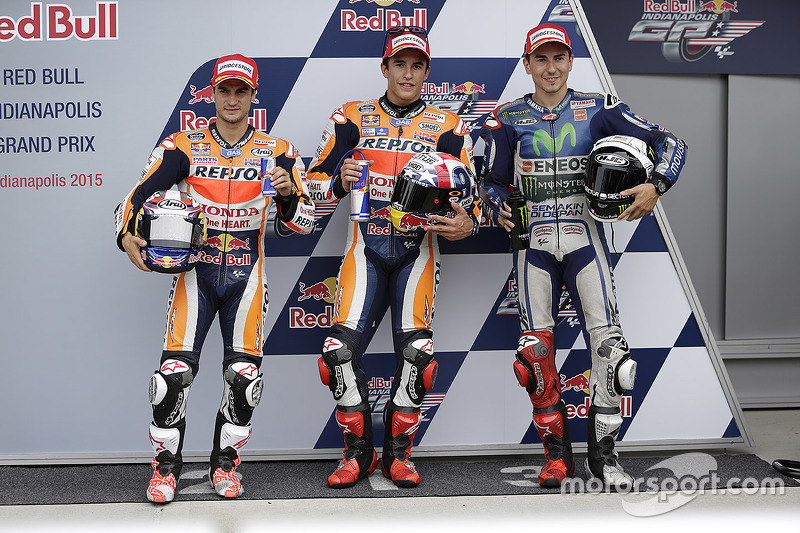 Polesitter Marc Marquez, Repsol Honda Team, second place Dani Pedrosa, Repsol Honda Team, third plac