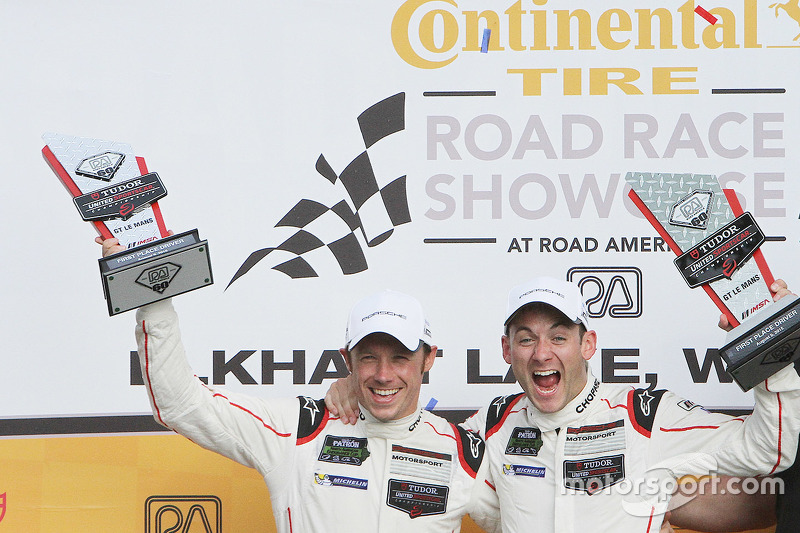 GTLM podium: winners #911 Porsche Team North America Porsche 911 RSR: Nick Tandy, Patrick Pilet