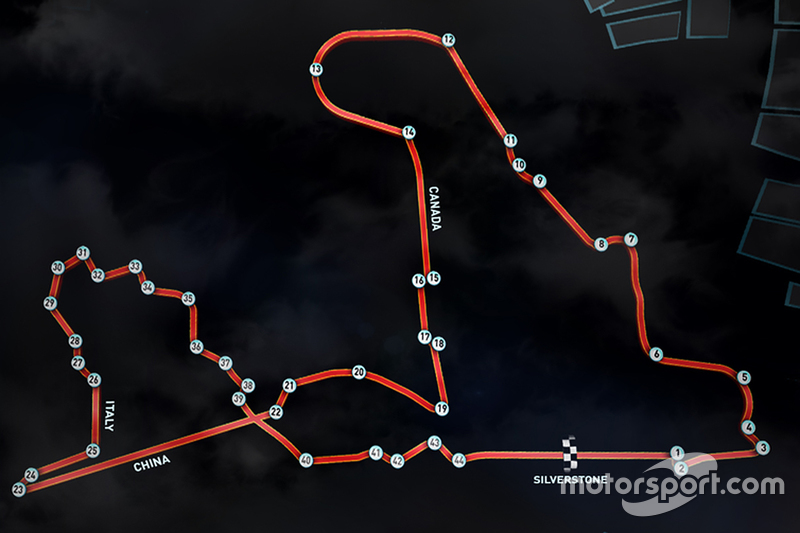 Martin Brundle's ultimate Scalextric circuit - diagram featuring straights, dan corners from 2015 F1