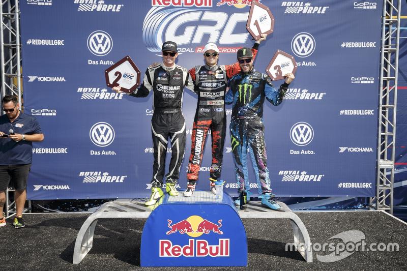 Podium: second place Patrik Sandell, Bryan Herta Rallysport Ford and first place Nelson Piquet Jr.,