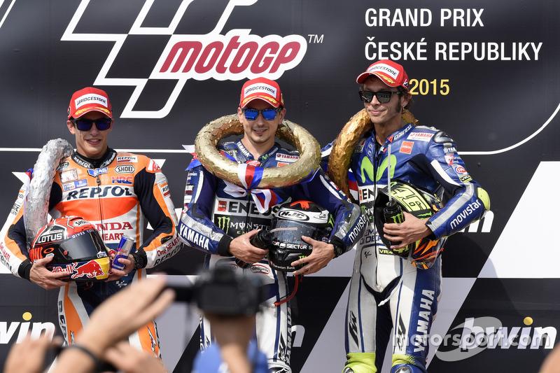 Podium: Jorge Lorenzo, Yamaha Factory Racing, second place Marc Marquez, Repsol Honda Team and third