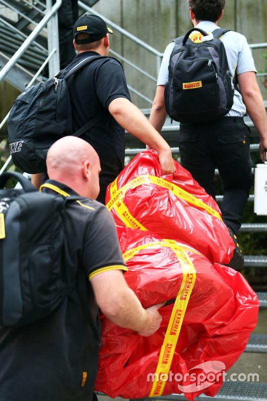 Pirelli race tyres of Sebastian Vettel, Ferrari are taken from paddock for further investigation