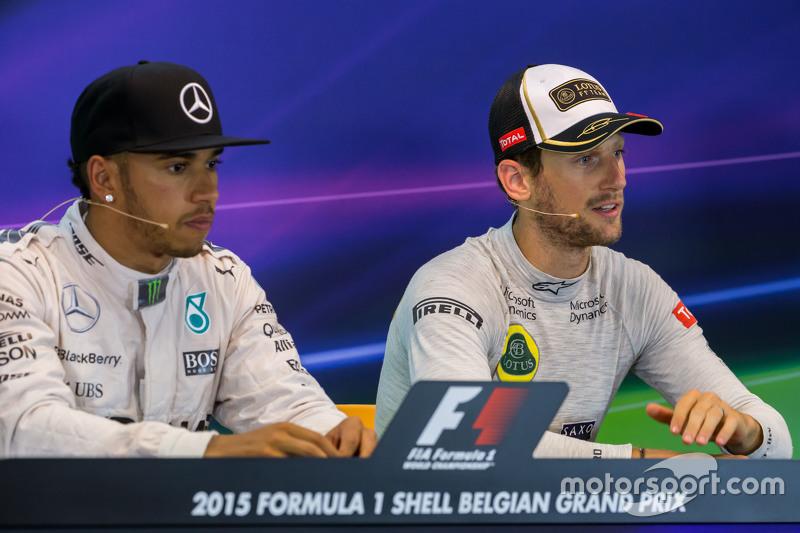 (L to R): Lewis Hamilton, Mercedes AMG F1 and Romain Grosjean, Lotus F1 Team in the FIA Press Conference
