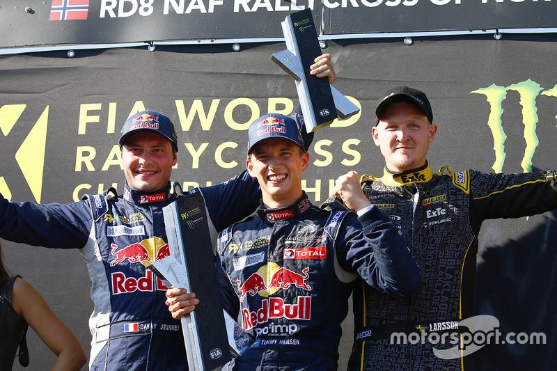 Podium: winner Timmy Hansen, Team Peugeot Hansen, second place Davy Jeanney, Team Peugeot Hansen, th