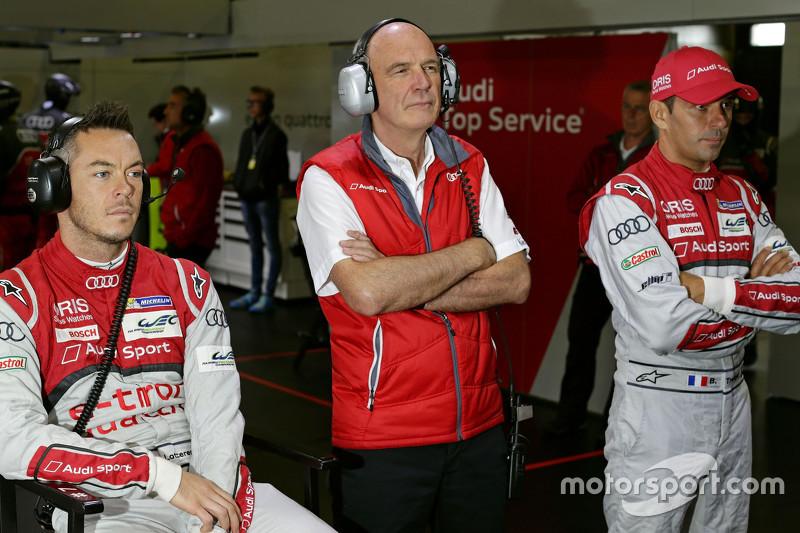 Dr. Wolfgang Ullrich, kepala dari Audi Sport bersama Benoit Tréluyer dan Andre Lotterer, Audi Sport