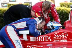 Race winner and series champion Scott Dixon, Chip Ganassi Racing Chevrolet with Sage Karam and Tony Kanaan
