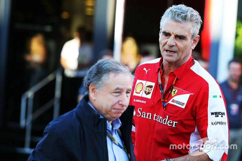 Jean Todt, FIA President with Maurizio Arrivabene, Ferrari Team Principal