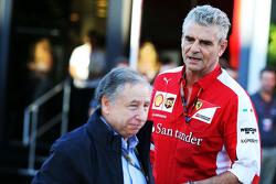 Jean Todt, Président de la FIA avec Maurizio Arrivabene, Ferrari, Team Principal