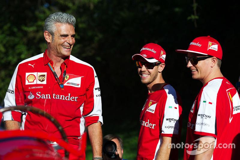 Maurizio Arrivabene, Ferrari Takım Patronu ile Kimi Raikkonen, Ferrari ve Sebastian Vettel, Ferrari