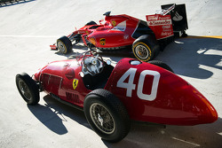 The Ferrari SF15-T and Ferrari 166 F1 cars on the Monza banking