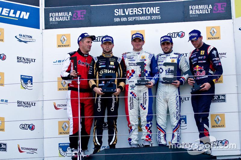 Podium: winner Oliver Rowland, second place Matthieu Vaxiviere, third place Pietro Fantin