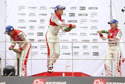 Round 2 podium: Winner Marchy Lee,  Audi Hong Kong Team, second place Cheng Congfu, FAW-VW Audi Racing, third place Rahel Frey, Castrol Racing Team