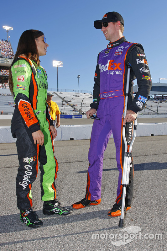 Denny Hamlin, Joe Gibbs Racing on crutches