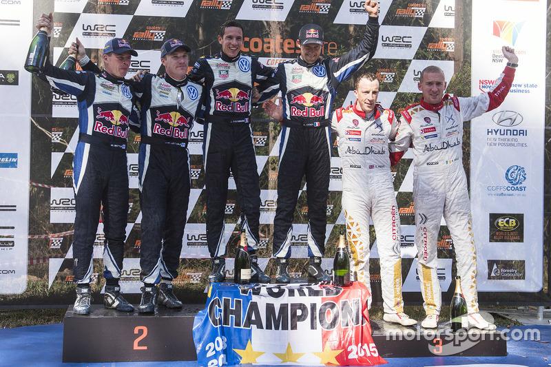 Podium: winners and 2015 WRC champions Sébastien Ogier and Julien Ingrassia, second place Jari-Matti