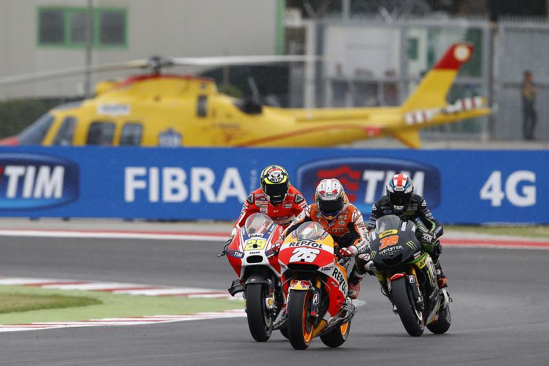 Dani Pedrosa, Repsol Honda Team; Andrea Iannone, Ducati Team, und Bradley Smith, Tech 3 Yamaha
