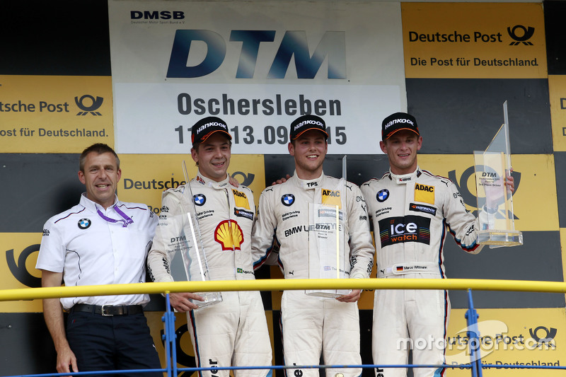 Podium: Bart Mampaey, BMW Team RBM, 2nd Augusto Farfus, BMW Team RBM BMW M34 DTM, 1st Tom Blomqvist, BMW Team RBM BMW M4 DTM, 3rd Marco Wittmann, BMW Team RMG BMW M4 DTM