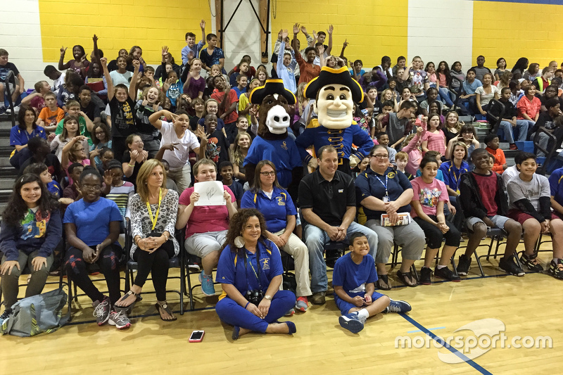 Ryan Newman, Richard Childress Racing Chevrolet visits a school in Dover, DE