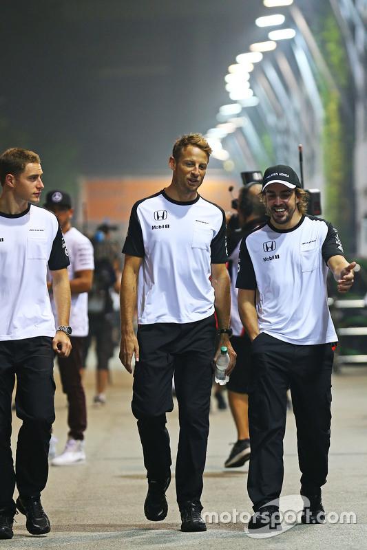 Stoffel Vandoorne, McLaren Test and Reserve Driver with Jenson Button, McLaren and Fernando Alonso,