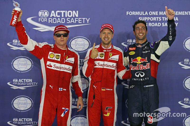 Pole Sebastian Vettel, Ferrari, segundo Daniel Ricciardo, Red Bull Racing, terceiro Kimi Raikkonen, Ferrari