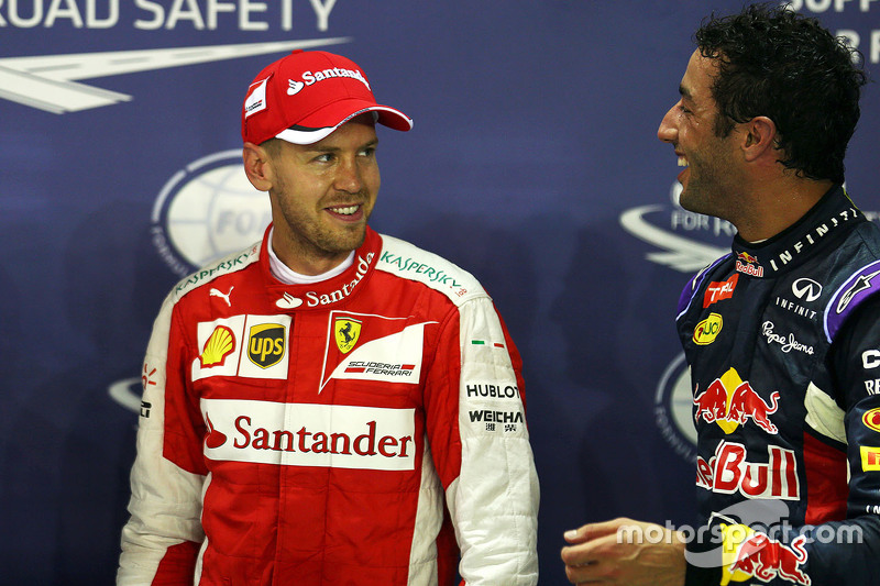 Polesitter Sebastian Vettel, Ferrari, mit 2. Daniel Ricciardo, Red Bull Racing