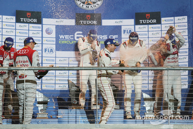 Podium: winners Timo Bernhard, Mark Webber, Brendon Hartley, Porsche Team celebrate on the podium