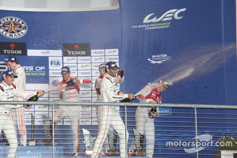 Podium: race winners Timo Bernhard, Mark Webber, Brendon Hartley, Porsche Team, second place Marcel