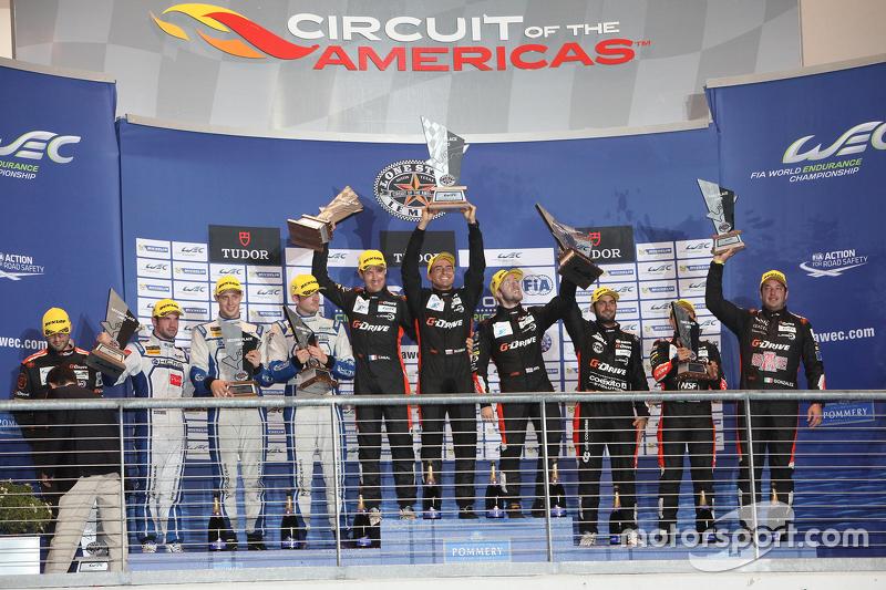 LMP2 Podium: 1. Roman Rusinov, Julien Canal, Sam Bird, G-Drive Racing; 2. Matthew Howson, Richard Bradley, Nicolas Lapierre, KCMG; 3. Ricardo Gonzalez, Pipo Derani, Gustavo Yacaman, G-Drive Racing