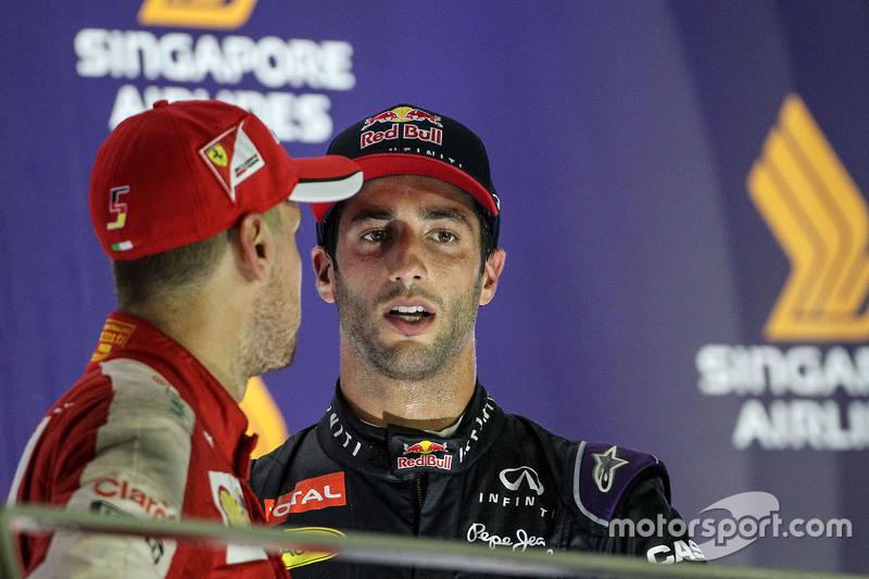 Race winner Sebastian Vettel, Ferrari and second place Daniel Ricciardo, Red Bull Racing