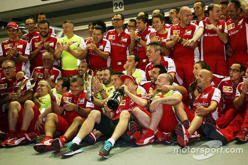 Kimi Raikkonen, Ferrari celebrates his third position with the team