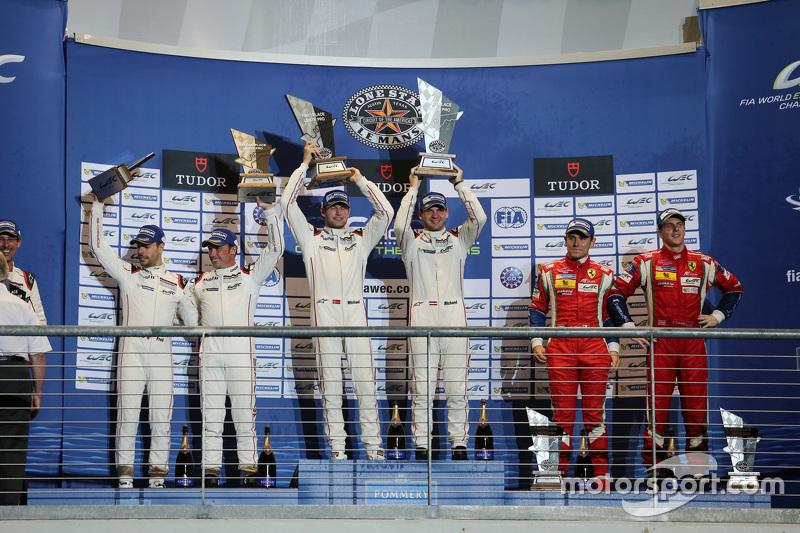 LMGTE Pro Podium: 1. Richard Lietz, Michael Christensen, Porsche Team; 2. Frédéric Makowiecki, Patrick Pilet, Porsche Team; 3. Davide Rigon, James Calado, AF Corse